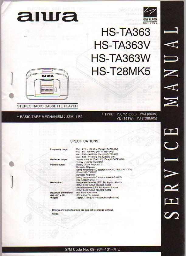 aiwa stereo radio cassette recorder hs ta363 v w t28mk5 service rh abebooks com Aiwa Stereo System CD Player Aiwa Stereo System CD Player