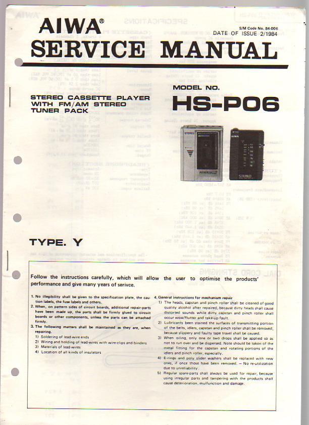 aiwa stereo radio cassette recorder hs p06 service manual by aiwa rh abebooks com