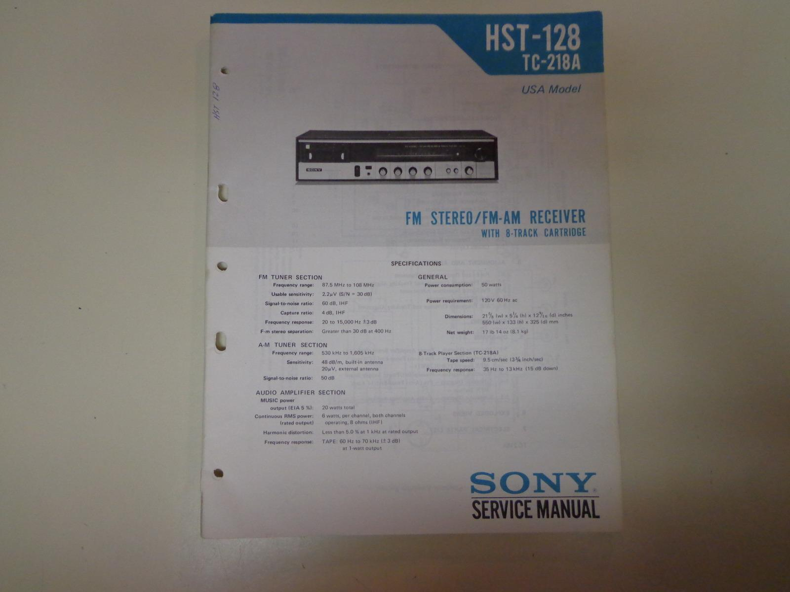 sony hst 128 tc 218a stereo receiver 8 track service manual original rh abebooks com sony str-dh100 stereo receiver manual sony str de197 stereo receiver manual