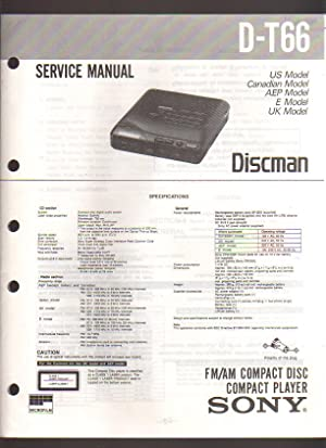 Sony FM/AM Compact Disc Player CD Discman Player D-T66 Service Manual: Sony Corporation