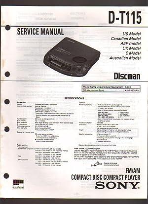 Sony FM/AM Player CD Discman Player D-T115 Service Manual: Sony Corporation