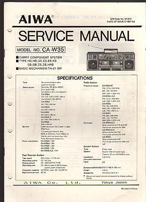 Aiwa Carry Component System CA-W35 Boombox Service: Aiwa Service