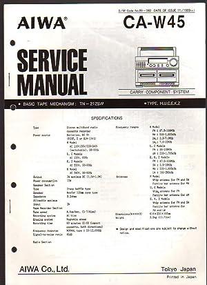 Aiwa Carry Component System CA-W45 Boombox Service: Aiwa Service