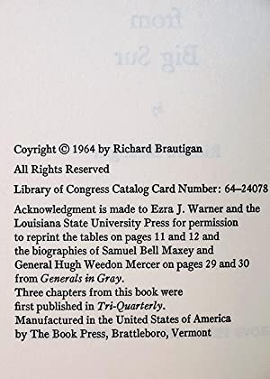 A Confederate General From Big Sur: Brautigan, Richard