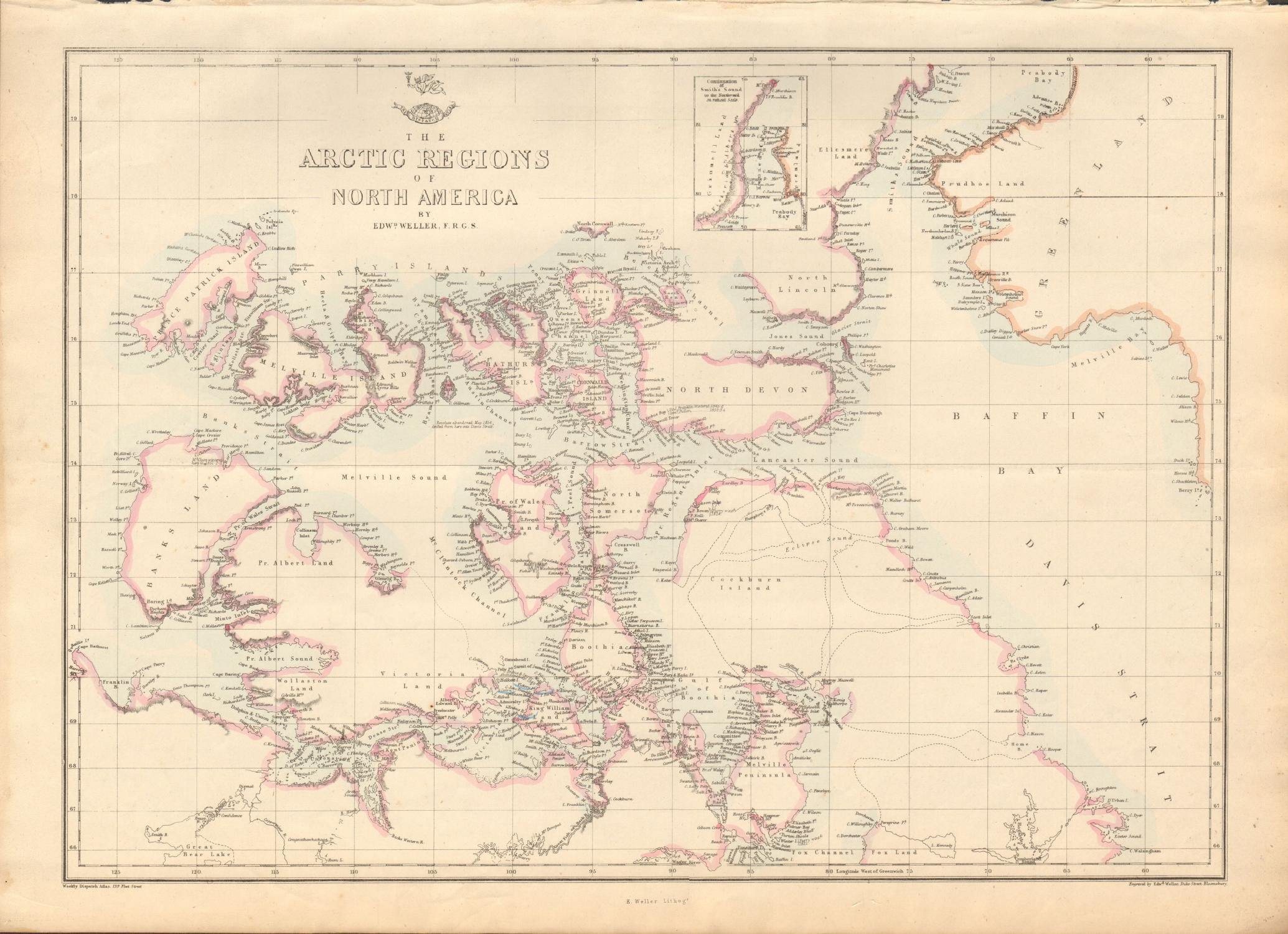 Antique Map Of North America.1863 Large Antique Map Dispatch Atlas Arctic Regions Of North