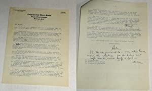 Signed two page letter to George Outland: Douglas, Helen Gahagan