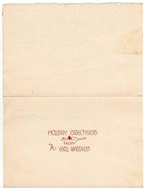"""Christmas Card from The Earl Warrens. The front says """"Holiday Greetings from the Earl Warrens,&..."""