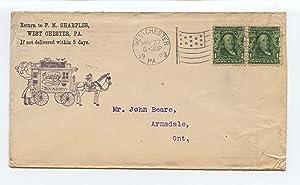 Mr. John Beare, Armadale, Ontario, postal cover: Sharples, P. M.