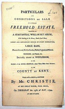AUCTION SALE NOTICE]. PARTICULARS AND CONDITIONS OF: WOULDHAM. KENT SALE