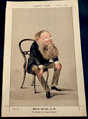 Mr Wilkie Collins. vanity fair Print No 170 Feb 1872. 19th century writer of