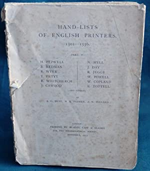 Hand-List of English Printers 1501-1556. Part IV.