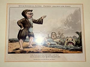 McLean's Humourous Hand-Cold Aquatints. St Anthony Preaching To the Fishes. Caricature 1821.