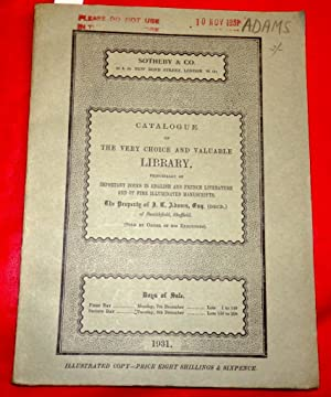 Catalogue of the Very Chioce and Valuable Library Principally of Important Books in English & Fre...