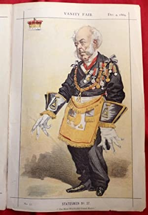 The Earl Of Zetland (Masonic Lord). Vanity Fair Print No 37. 1869