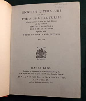 Catalogue No 511. 1928. English Literature of the 19th & 20th Centuries Together with Books on Sp...