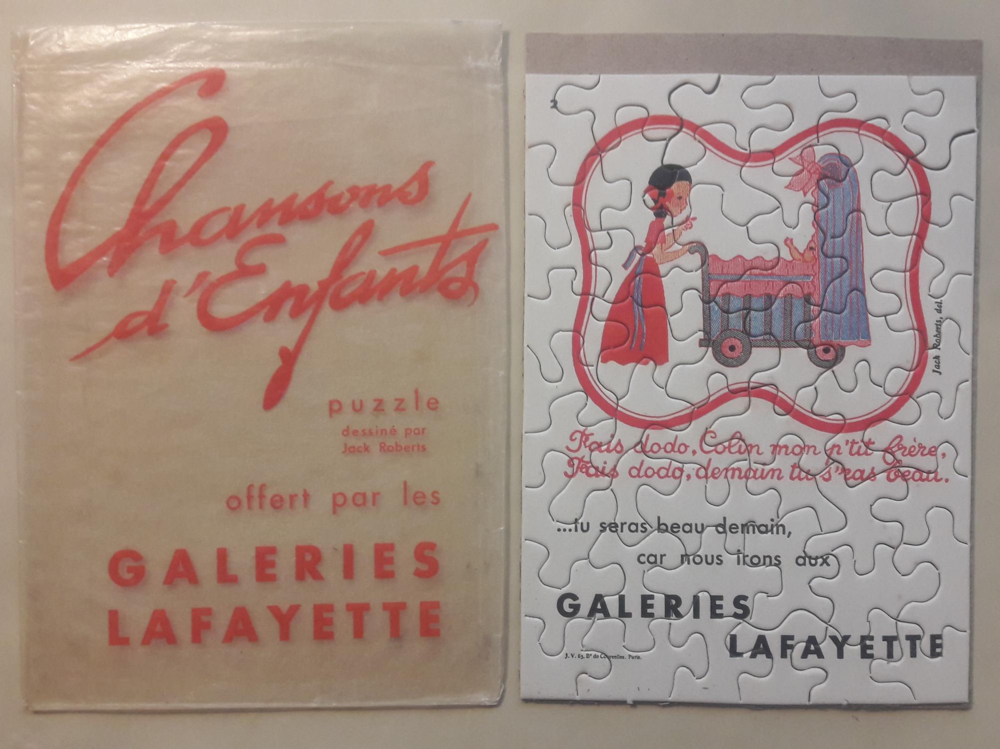 publicitaire dessiné par Jack Roberts offert par les Galeries Lafayette. PUZZLE.
