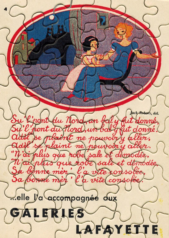 publicitaire dessiné par Jack Roberts offert par les Galeries Lafayette. PUZZLE