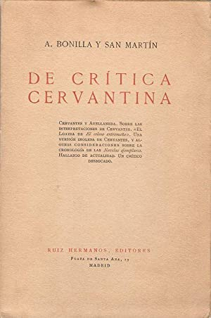 DE CRÍTICA CERVANTINA: BONILLA Y SAN