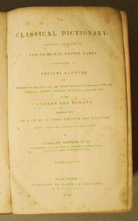 Classical dictionary : containing an account of the principal proper names mentioned in ancient ...