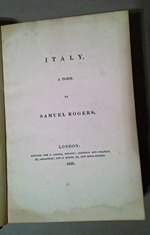 Italy, A Poem: Rogers, Samuel