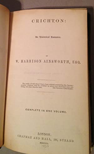 Crichton: An Historical Romance: Ainsworth, W. Harrison