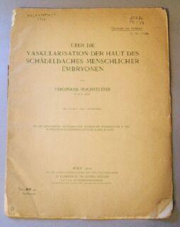 Über die Vaskularisation der Haut des Schädeldaches menschlicher Embryonen: Hochstetter, ...