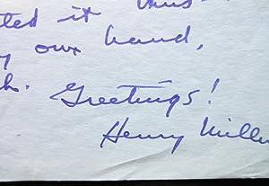 Autograph letter, signed. Big Sur 1951: Henry Miller