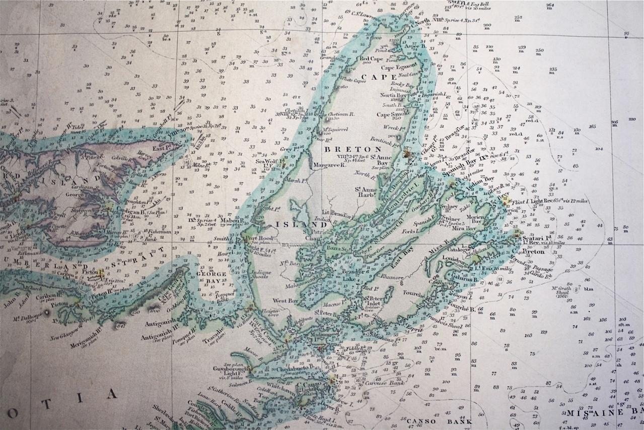 Admiralty Chart St Johns Newfoundland to Halifax with the Outer