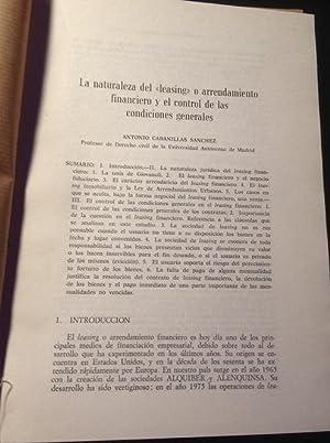 LA NATURALEZA DEL LEASING O ARRENDAMIENTO FINANCIERO Y EL CONTROL DE LAS CONDICIONES GENERALES.: ...