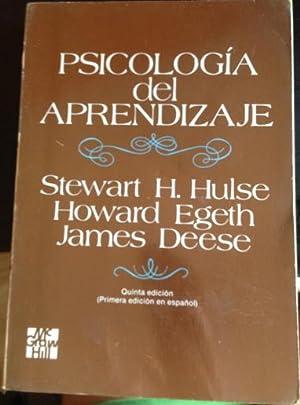 PSICOLOGIA DEL APRENDIZAJE.: HULSE/EGETH/DEESE, Stewart H./Howard/James.
