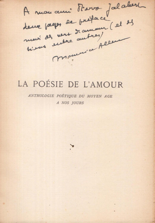 La Poésie De Lamour Anthologie Poétique Du