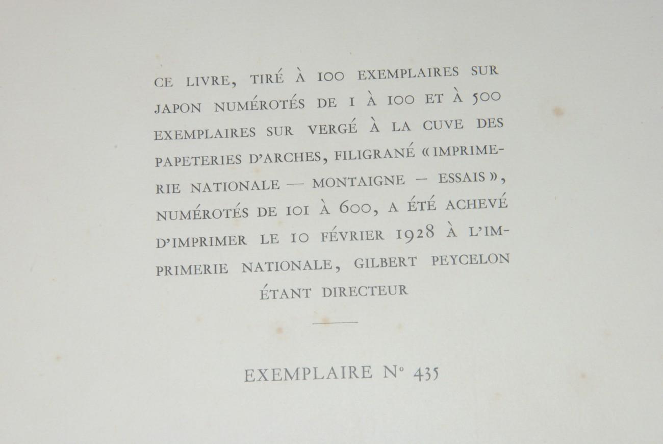 LES ESSAIS. REPRODUCTION TYPOGRAPHIQUE DE L'EXEMPLAIRE ANNOTE PAR L'AUTEUR ET CONSERVE A LA...