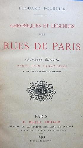 Chroniques et légendes des rues de Paris. Nouvelle édition ornée d'un ...
