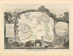 Colonies Françaises En Amérique - Carte De l'Atlas National illustré.: ...