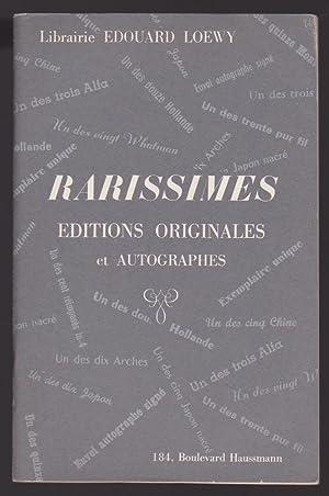 Rarissimes Editions Originales et autographes. Catalogue N°155 - 1971: Librairie Edouard Loewy