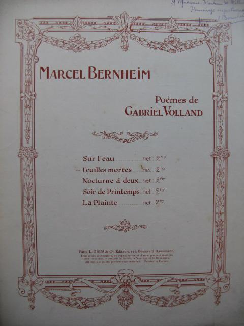 Bernheim Marcel Feuilles Mortes Dédicace