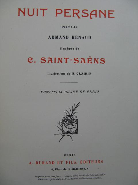 Saint Saëns Camille Nuit Persane Chant Piano