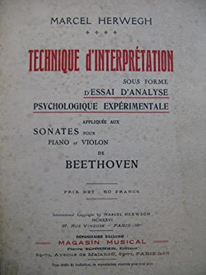 HERWEGH Marcel Technique d'Interprétation Sonates Beethoven 1926