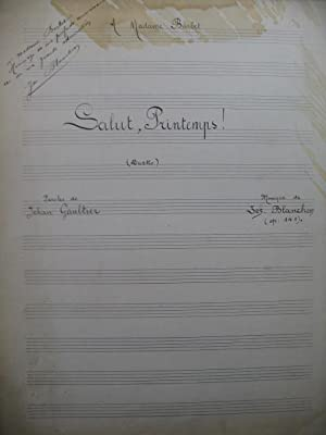 BLANCHON Joseph Salut, Printemps Manuscrit Chant Piano 1905