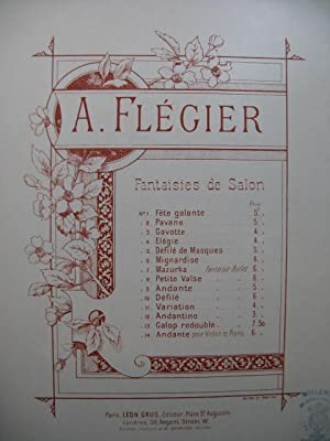 FLEGIER A. Andantino Piano ca1900: FLEGIER A. Andantino