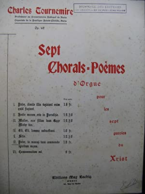 TOURNEMIRE Charles Sept Chorals No 6 Orgue 1937