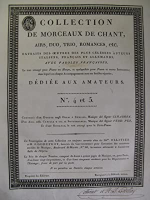 Collection de Morceaux de Chant n° 4 et 5 Chant Harpe ou Piano ca1805