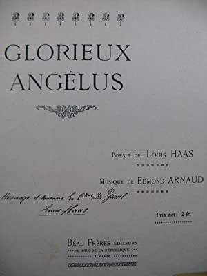 ARNAUD Edmond Glorieux Angelus Dedicace Chant Piano