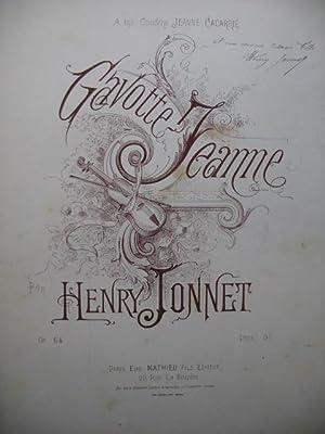 JONNET Henry Gavotte Jeanne Piano XIXe siècle: JONNET Henry Gavotte