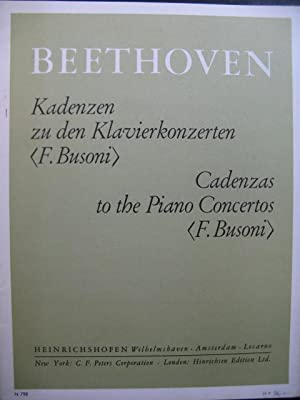 BEETHOVEN Cadenzas to the Piano Concertos Busoni Piano