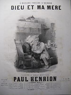 HENRION Paul Dieu et ma Mère Chant Piano 1848
