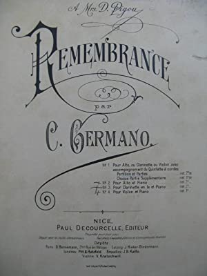 GERMANO Carlo Remembrance Dédicace Orchestre ca1905