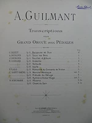 BIZET Georges Berceuse et Duo A. Guilmant Orgue ca1891