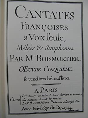 BODIN DE BOISMORTIER Joseph Les Quatre Saisons: BODIN DE BOISMORTIER