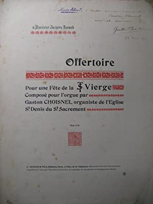 CHOISNEL Gaston Offertoire Dédicace Orgue 1897
